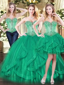Luxurious Sleeveless Beading and Ruffles Lace Up Quinceanera Dresses
