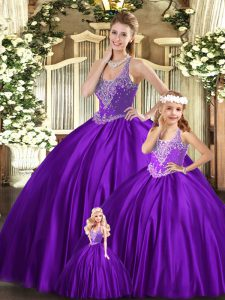 Floor Length Purple Quinceanera Gowns Organza Sleeveless Beading