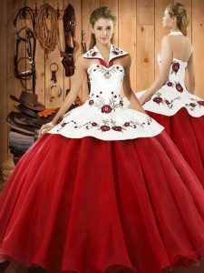 Romantic Floor Length Wine Red Sweet 16 Dress Satin and Tulle Sleeveless Embroidery
