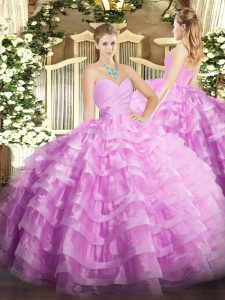 Colorful Lilac Ball Gowns Sweetheart Sleeveless Organza Floor Length Lace Up Beading and Ruffled Layers Quinceanera Dress