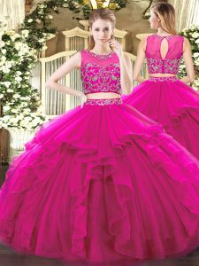 Super Beading and Ruffles Sweet 16 Quinceanera Dress Fuchsia Zipper Sleeveless Floor Length