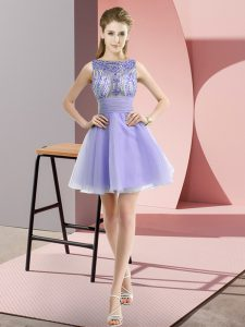 Pretty Lavender Bateau Neckline Beading and Bowknot Prom Party Dress Sleeveless Zipper