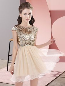Stunning Champagne A-line Tulle Scoop Cap Sleeves Sequins Mini Length Zipper Quinceanera Dama Dress