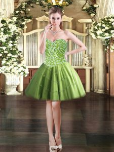 Customized Mini Length Olive Green Prom Gown Sweetheart Sleeveless Lace Up