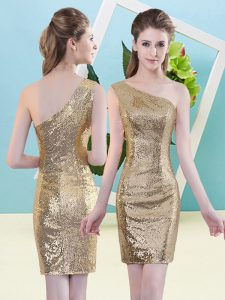 High End Mini Length Zipper Prom Evening Gown Gold for Prom and Party with Sequins