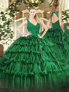 Romantic Dark Green Sleeveless Organza Backless Quinceanera Dress for Military Ball and Sweet 16 and Quinceanera