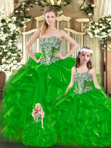 Strapless Sleeveless Lace Up Sweet 16 Quinceanera Dress Green Organza