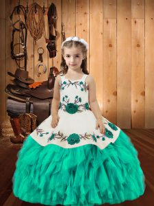 Latest Embroidery and Ruffles Kids Pageant Dress Aqua Blue Lace Up Sleeveless Floor Length