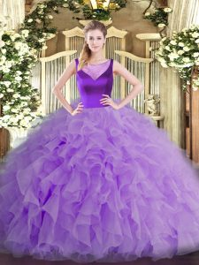 Sleeveless Beading and Ruffles Side Zipper 15 Quinceanera Dress