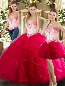 Organza Sweetheart Sleeveless Lace Up Beading and Ruffles Sweet 16 Dresses in Hot Pink