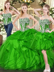 Stylish Green Lace Up Quinceanera Dress Ruffles Sleeveless Floor Length