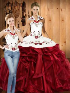 Fashionable Wine Red Halter Top Neckline Embroidery and Ruffles Sweet 16 Quinceanera Dress Sleeveless Lace Up