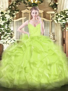 Free and Easy Yellow Green Ball Gowns Spaghetti Straps Sleeveless Organza Floor Length Zipper Ruffles Quinceanera Gowns