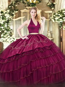 Burgundy Sleeveless Floor Length Embroidery and Ruffled Layers Zipper Quinceanera Gowns