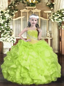 Floor Length Ball Gowns Sleeveless Yellow Green Pageant Dress Wholesale Lace Up