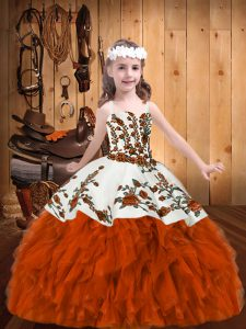 Great Rust Red Ball Gowns Straps Sleeveless Organza Floor Length Lace Up Beading and Embroidery Pageant Dress