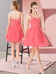 Asymmetric Sleeveless Zipper Evening Dress Coral Red Organza