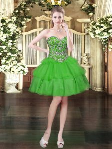 On Sale Green Sleeveless Organza Lace Up Prom Gown for Prom and Party