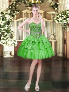 Attractive Green Satin and Organza Lace Up Sweetheart Sleeveless Mini Length Dress for Prom Beading and Ruffled Layers