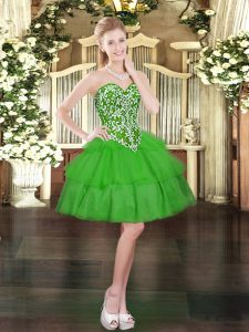 Captivating Sleeveless Mini Length Beading and Ruffled Layers Lace Up Prom Gown with Green