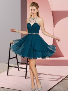 Fashionable Navy Blue Sleeveless Chiffon Zipper Prom Party Dress for Prom and Party