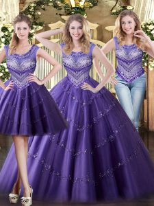 Affordable Floor Length Purple Quinceanera Gown Scoop Sleeveless Lace Up