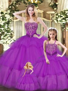 Superior Organza Sweetheart Sleeveless Lace Up Ruffled Layers Sweet 16 Dress in Purple