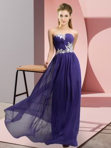 Decent Sweetheart Sleeveless Prom Party Dress Floor Length Appliques Purple Chiffon