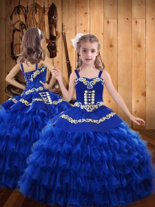 Unique Royal Blue Sleeveless Embroidery and Ruffled Layers Floor Length Little Girl Pageant Dress