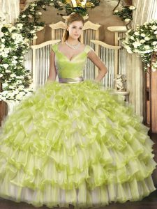 High Quality Sleeveless Floor Length Ruffled Layers Zipper Quinceanera Gown with Yellow Green