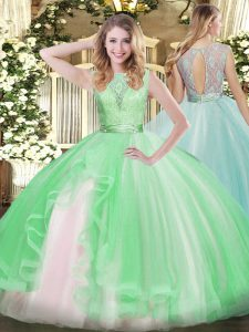 Apple Green Ball Gowns Scoop Sleeveless Organza Floor Length Backless Lace and Ruffles Quinceanera Gowns
