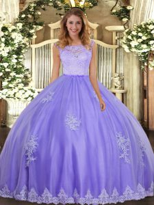 Inexpensive Lavender Scoop Clasp Handle Lace and Appliques Quinceanera Gowns Sleeveless