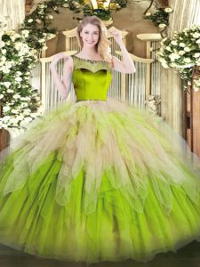 Beauteous Multi-color Ball Gowns Organza Scoop Sleeveless Beading and Ruffles Floor Length Zipper Ball Gown Prom Dress