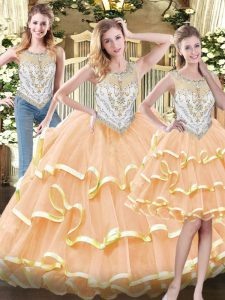 Vintage Peach Zipper Scoop Beading and Ruffled Layers Sweet 16 Dresses Organza Sleeveless