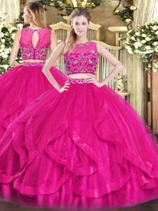 Scoop Sleeveless Tulle Sweet 16 Quinceanera Dress Beading and Ruffles Zipper