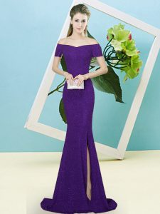 Purple Sequined Zipper Off The Shoulder Short Sleeves Prom Dress Sweep Train Sequins