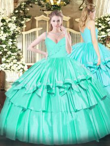 Flirting Turquoise Zipper Spaghetti Straps Ruffled Layers 15 Quinceanera Dress Taffeta Sleeveless