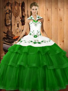 Eye-catching Green Organza Lace Up Sweet 16 Quinceanera Dress Sleeveless Sweep Train Embroidery and Ruffled Layers