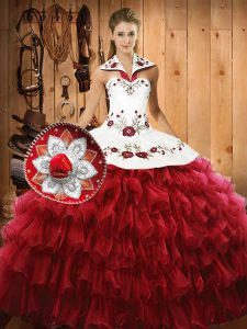 Beautiful Floor Length Ball Gowns Sleeveless Wine Red Sweet 16 Quinceanera Dress Lace Up
