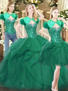 Flirting Floor Length Dark Green 15th Birthday Dress Sweetheart Sleeveless Lace Up