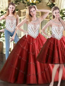 Luxury Wine Red Zipper Sweet 16 Quinceanera Dress Beading Sleeveless Floor Length