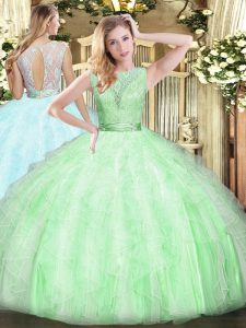 Fashion Sleeveless Organza Floor Length Backless Sweet 16 Dresses in Apple Green with Lace and Ruffles
