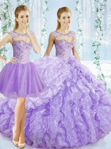 Fashionable Organza Sleeveless Quince Ball Gowns Brush Train and Beading and Ruching and Pick Ups