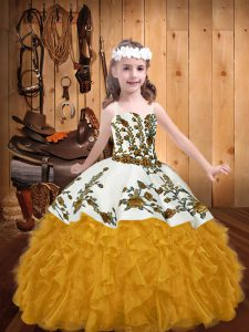 Straps Sleeveless Winning Pageant Gowns Floor Length Embroidery and Ruffles Gold Organza