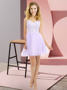 Sleeveless Mini Length Beading and Lace Side Zipper Bridesmaid Gown with Lavender