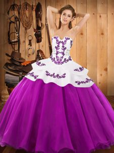 Charming Ball Gowns 15th Birthday Dress Fuchsia Strapless Satin and Organza Sleeveless Floor Length Lace Up