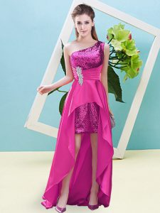 Fuchsia Elastic Woven Satin and Sequined Lace Up Dress for Prom Sleeveless High Low Beading and Sequins