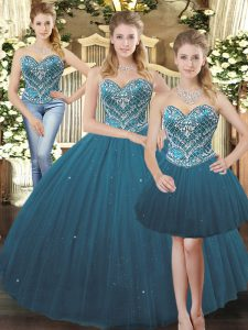 Teal Sleeveless Beading Floor Length 15 Quinceanera Dress
