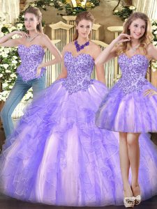 Lavender Sleeveless Floor Length Appliques and Ruffles Zipper Sweet 16 Dress