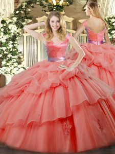 Dramatic Watermelon Red Sleeveless Ruffled Layers Floor Length Quince Ball Gowns
